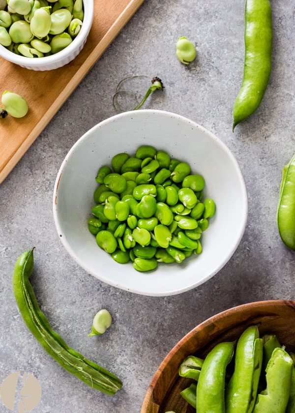 Cooked fava beans in a white bowl