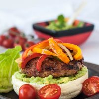 Chicken fajita burgers topped with bell peppers