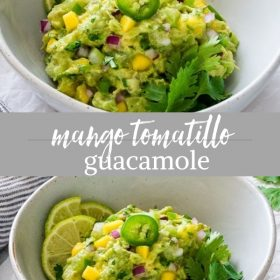 mango tomatillo guacamole collage