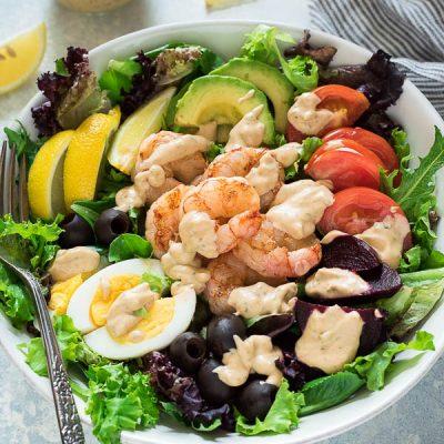 Grilled Shrimp Louie Salad is classic shrimp louie salad with smoky grilled shrimp and fresh, creamy homemade louie salad dressing! {GF, DF}