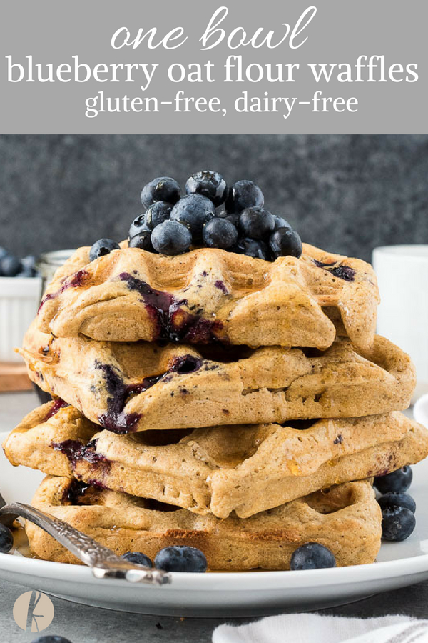 One Bowl Blueberry Oat Flour Waffles are crispy on the outside, fluffy on the inside, and studded with juicy blueberries. {GF, DF}