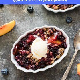 peach blueberry crisp collage
