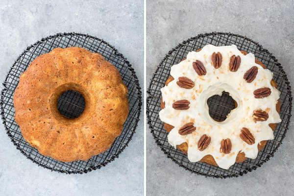 Hummingbird bundt cake before and after frosting