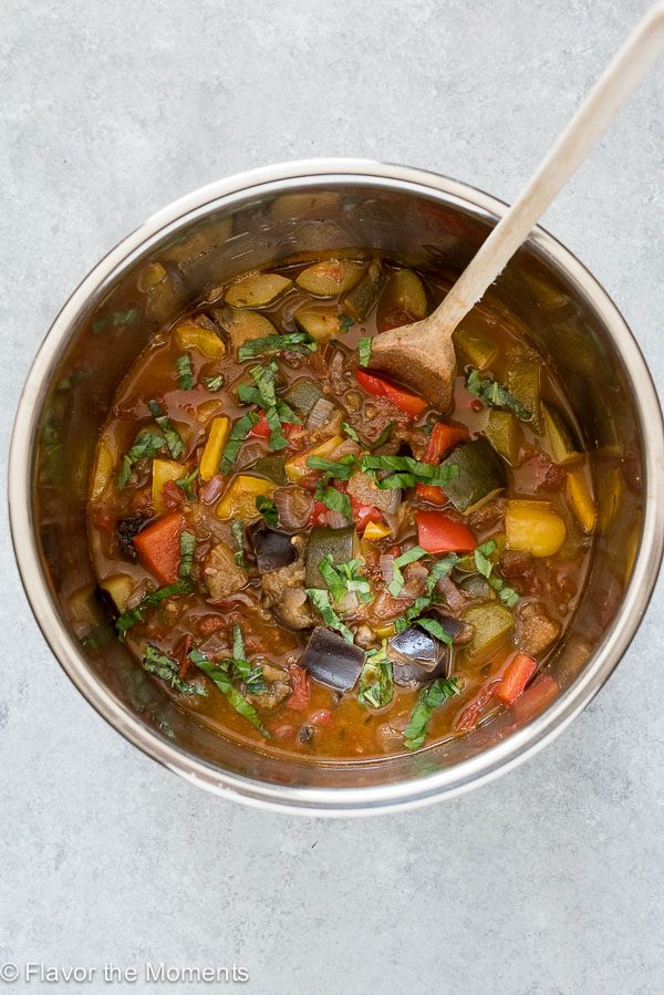 Instant Pot ratatouille in Instant Pot with wooden spoon