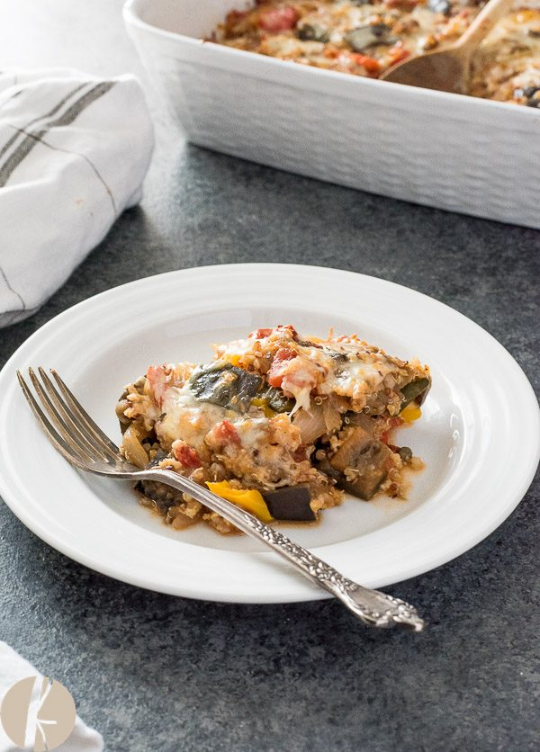 serving of ratatouille casserole on a plate with fork