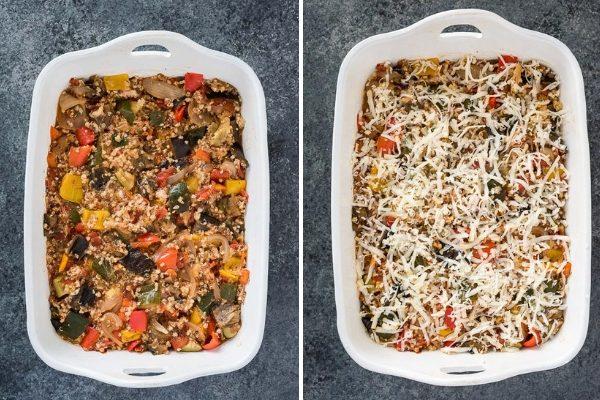 ratatouille casserole process collage