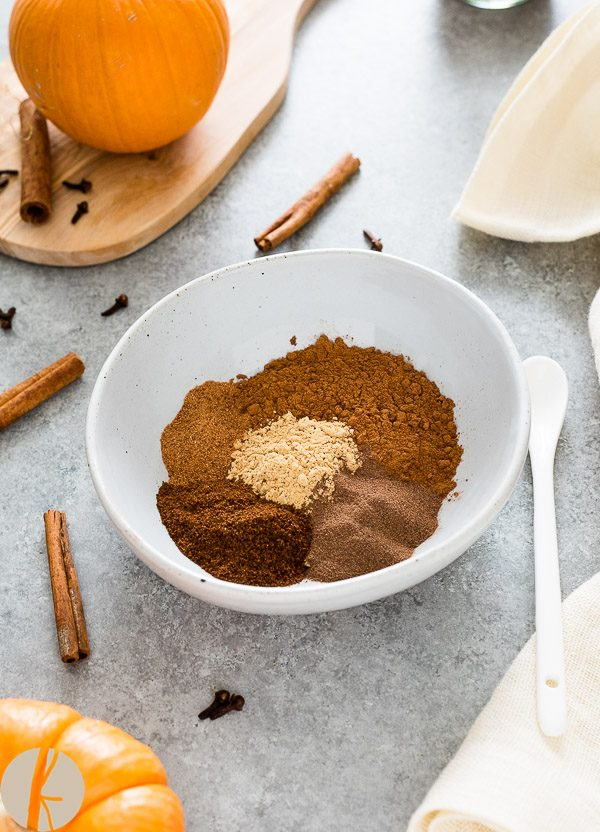 Homemade Pumpkin Pie Spice in a bowl before blending