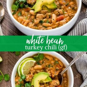 white bean turkey chili collage
