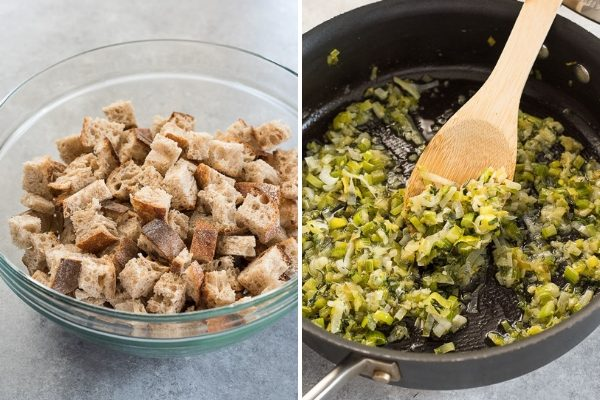 How to make slow cooker stuffing process collage 1