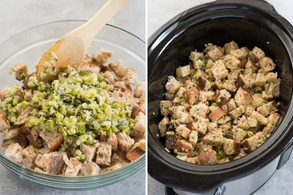 How to make slow cooker stuffing process collage 2