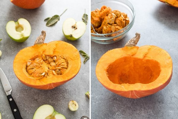 Pumpkin soup prep collage