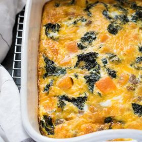 Sausage, Butternut Squash and Kale Breakfast Casserole is an easy sausage egg casserole that's perfect for brunch and meal prep breakfasts!