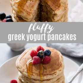 Fluffy Greek Yogurt Pancakes are fluffy, healthy and EASY Greek yogurt pancakes that come together in just one bowl!