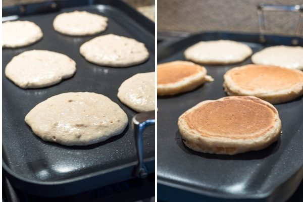 Greek yogurt pancakes on griddle during cooking