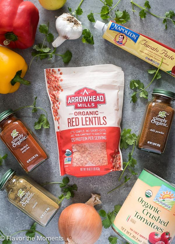 Ingredients for taco lentil chili