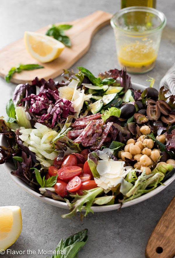 close up front view of Italian chopped salad
