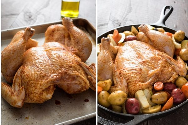spatchcock chicken prep collage