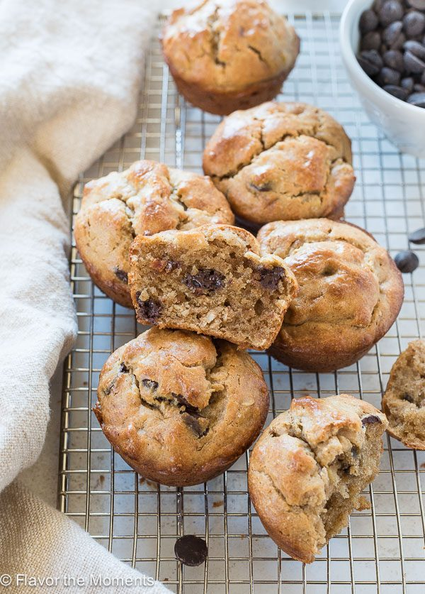 Flourless Peanut Butter Banana Muffins scattered on a wire rack