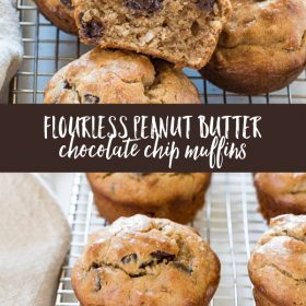 Flourless Peanut Butter Banana Chocolate Chip Muffins are fluffy, gluten-free muffins with no refined sugar and no blender required!