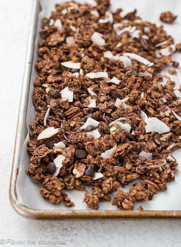 German chocolate granola on baking sheet