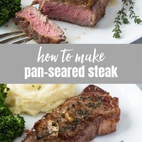How to Pan Sear Steak is an easy, step-by-step guide on how to pan fry the perfect steak on the stove in about 10 minutes!