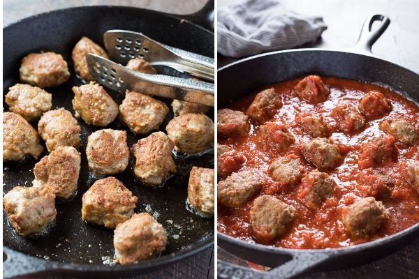 Browning meatballs and meatballs in sauce collage