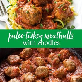 Paleo Turkey Meatballs with Zoodles is flavorful, grain free turkey meatballs cooked in marinara sauce.  Serve over zoodles for a delicious low carb meal!