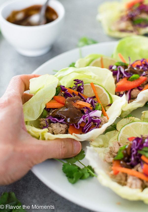 hand holding chicken lettuce wrap with hoisin sauce