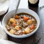 Bowl of Irish beef stew with spoon