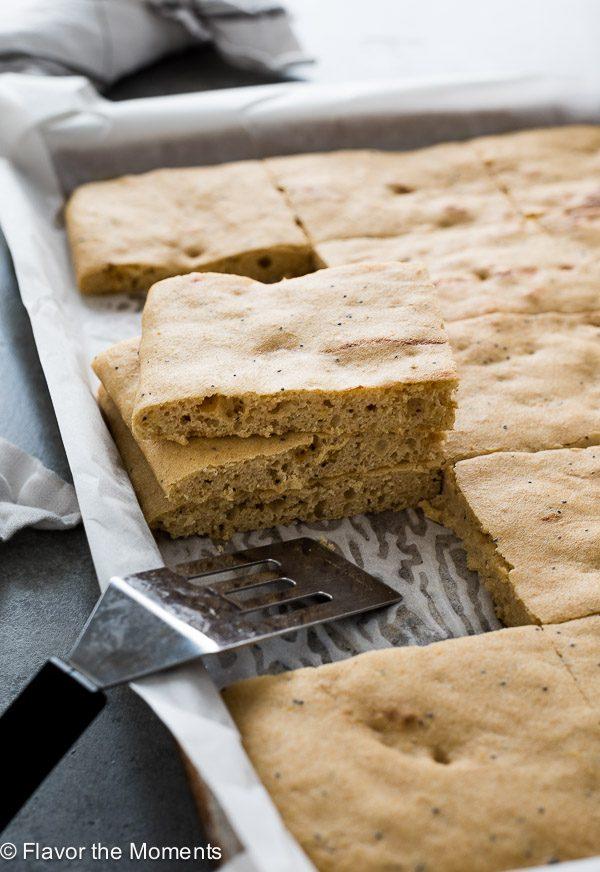 Baking sheet of sheet pancakes cut into squares