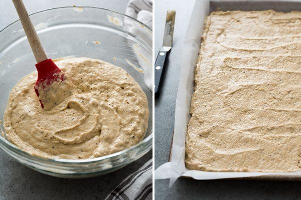 Sheet pan pancake batter in bowl and in prepared pan