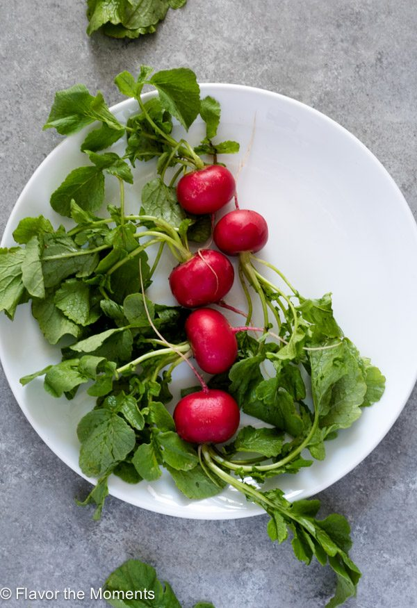 radishes on a plate overhead -- closeup