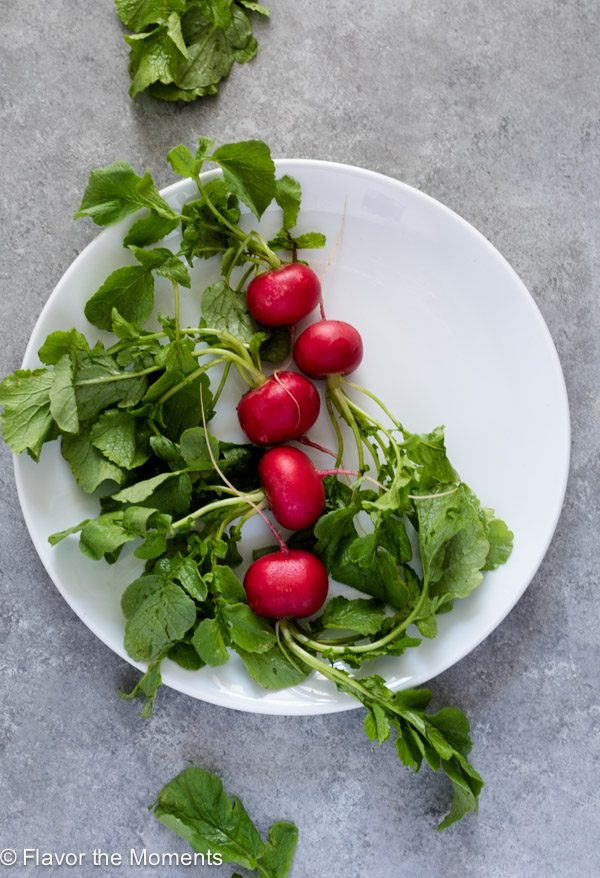 radishes on a plate -- overhead
