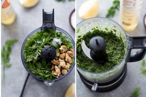 Carrot top pesto in food processor before and after processing