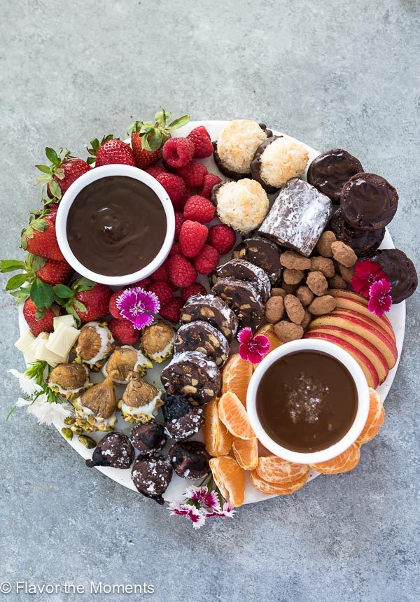 overhead view of chocolate board with chocolate covered figs