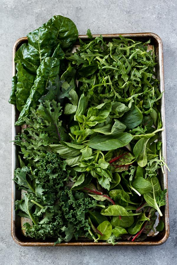 Greens on a baking sheet