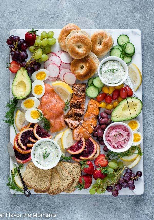 Array of food on a smoked salmon breakfast platter