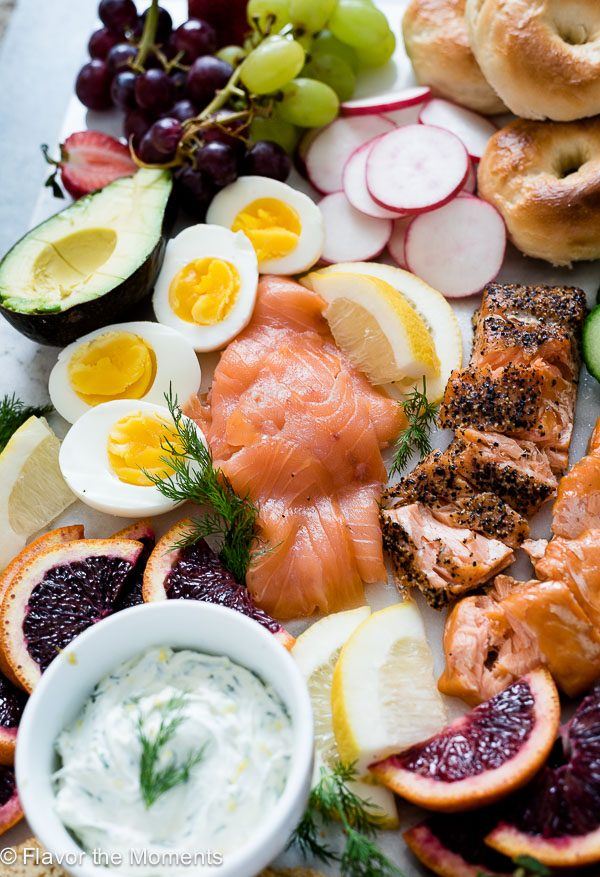Close up of cold smoked salmon on salmon breakfast platter