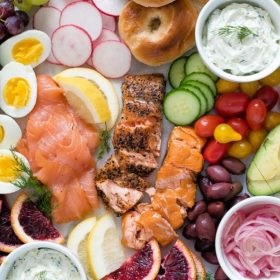 smoked salmon breakfast platter collage