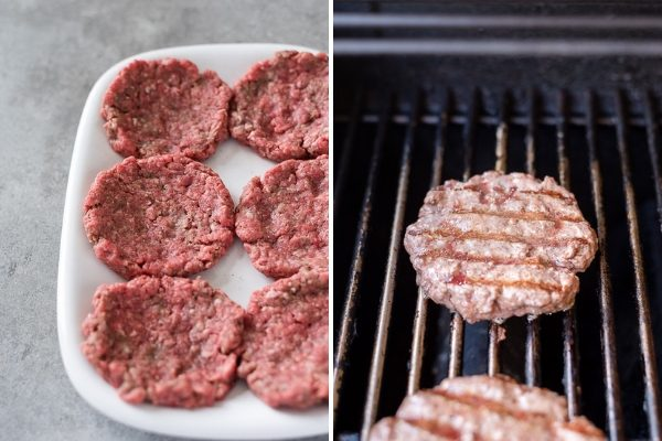 Grilled burgers before and after cooking