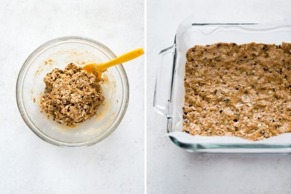 no bake peanut butter oatmeal bars process collage 2