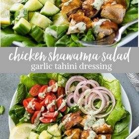 chicken shawarma salad with garlic tahini dressing collage