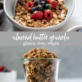 almond butter granola collage