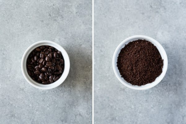 coffee beans before and after grinding for cold brew