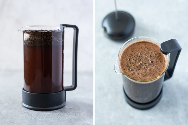 How to make cold brew coffee in a french press collage