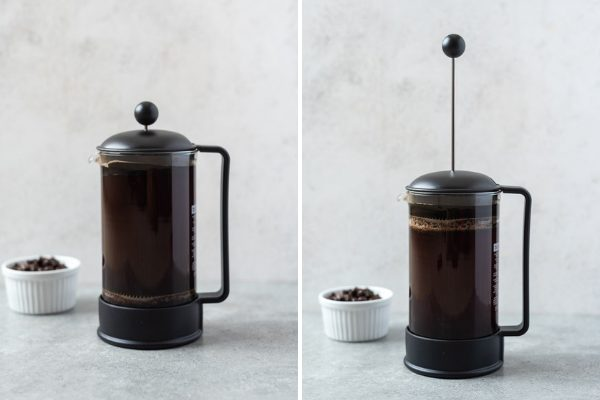 How to make cold brew coffee in a french press collage 2