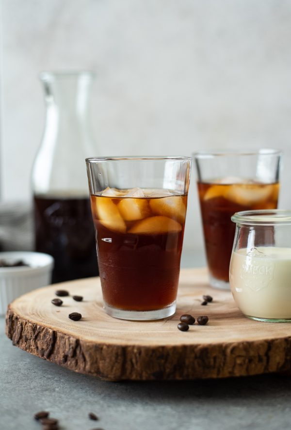 front view of cold brew coffee recipe in glass with ice