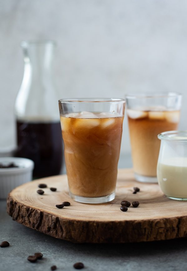 front view of cold brew coffee recipe with ice and creamer