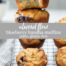 almond flour blueberry muffins collage