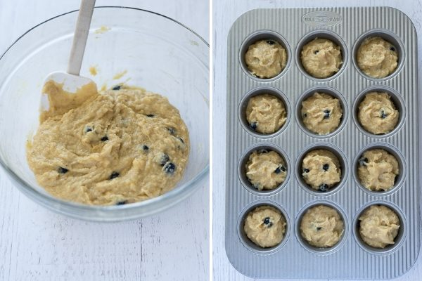 Almond flour blueberry muffin batter in bowl and in baking pan